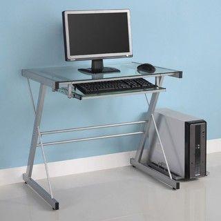 Silver Metal Glass Computer Desk