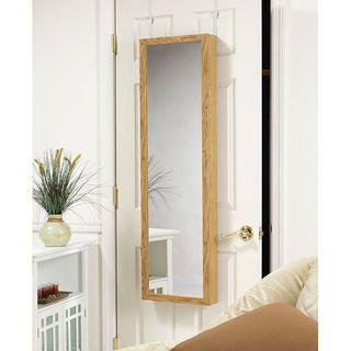 Oak Wood Hanging Armoire Mirror
