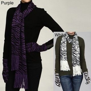 La Florentina Womens 2 piece Zebra Print Glove and Scarf