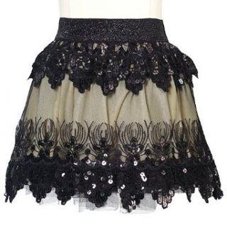 Lipstik Black Sequin Lace Trendy Skirt Little Girls 4