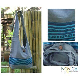 Handmade Blueberry Surprise Cotton Shoulder Bag (Thailand