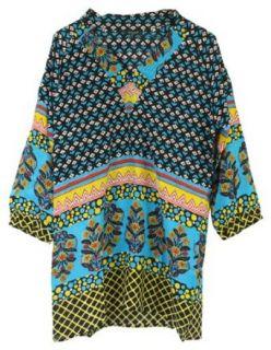 Tolani Nisha Silk Tunic Dress Top Turquoise Black