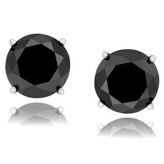 Sterling Silver Black Diamond Stud Earrings