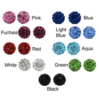 Sterling Silver Crystal Studded 6 mm Round Stud Earrings