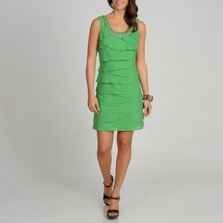 Fashions Womens Green S.L.eeveless Tiered Dress