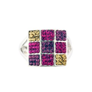 Sterling Silver Multicolored Crystal Ring