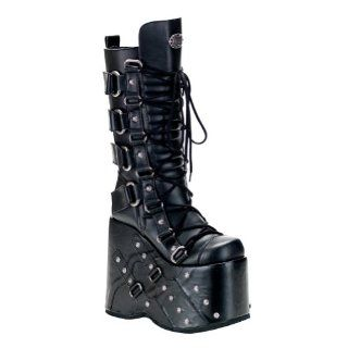 MENS SIZING Knee High Boots Gothic Style Lace Up Studs Hardware Shoes