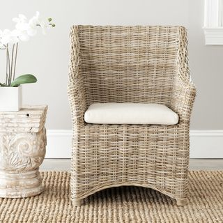 St Thomas Indoor Wicker Washed out Brown Wing Back Arm Chair