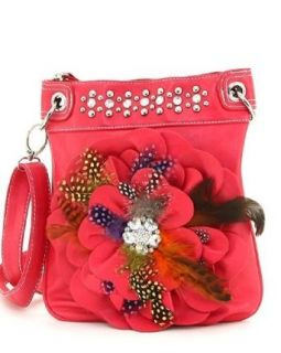 Red Raised Flower Rhinestone & Feathers Hipster Purse