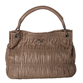 Prada Gaufre Taupe Nappa Leather Hobo Bag