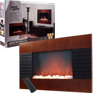 Warm House Mahogany Trim Fireplace 1500 Watt Heater
