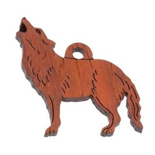Red Brown Padauk Wood Carved Wolf Charms (Pack of 2)