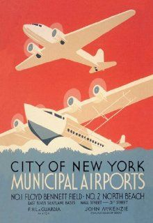 City of New York Municipal Airports (WPA) 12x18 Giclee on