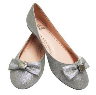 com Hello Kitty Silver Glitter Halle Flats (8, Silver Glitter) Shoes