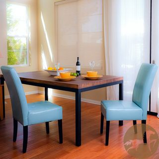 Christopher Knight Home T stitch Teal Blue Leather Dining Chairs (Set