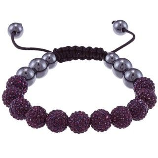 La Preciosa Dark Purple Crystal and Hematite Bead Macrame Bracelet