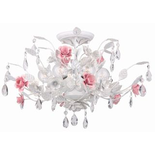 Transitional Antique White 6 light Semi flush Light Fixture
