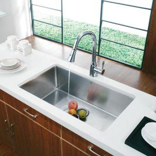Vigo Undermount 30 inch Stainless Steel Kitchen Sink and Faucet