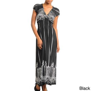 Stanzino Womens Printed Smocked Empire Waist Maxi Dress