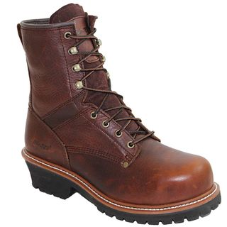 AdTec Mens 9 inch Brown Steel toe Logger Boots