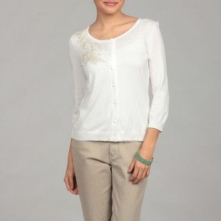 Cable & Gauge Womens Ivory Beaded Cardigan