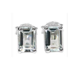 Malaika Sterling Silver Octagon cut Aquamarine Stud Earrings MSRP $69