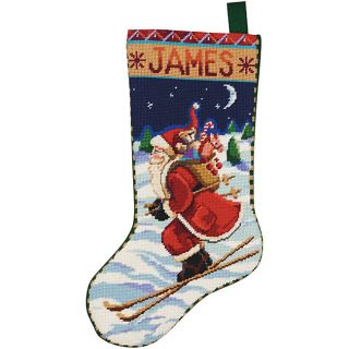 Skiing Santa 18 inch Neddlepoint Stocking Kit