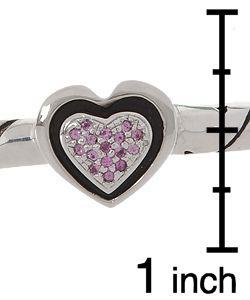 John Atencio Sterling Silver/18 kt. Gold Pink Sapphire Heart Bracelet