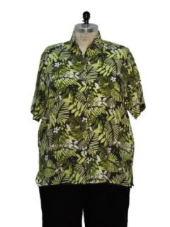 Womens Plus Size Jungle Print Short Sleeve Camp Shirt by