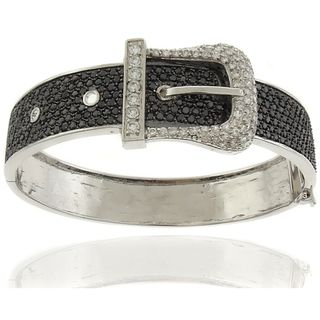 Silver Overlay Cubic Zirconia Black and White Buckle Bangle