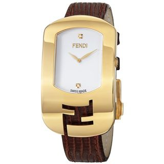 Fendi Womens Chameleon White Diamond Dial Brown Leather Strap Watch