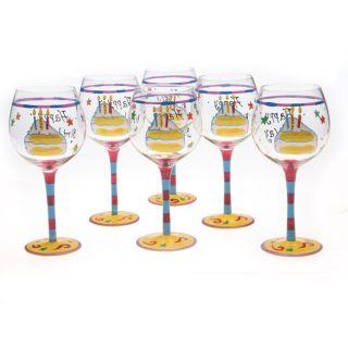 Certified International Happy Birthday 18 oz Wine Glasses (Set of 6
