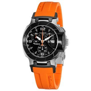 Tissot Womens T Race Black Dial Orange Silicone Strap