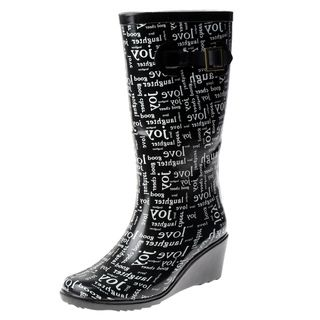Henry Ferrera Womens Rubber Love Wedge heel Rain Boots