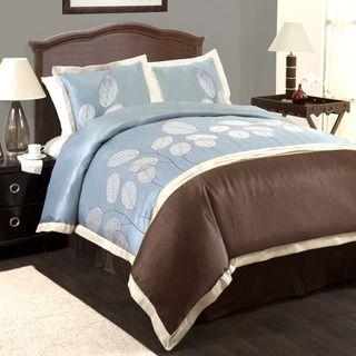 Lush Decor Lydia Blue/Brown 4 piece Comforter Set