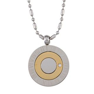 Stainless Steel Two Tone Roman Numeral Crystal Necklace
