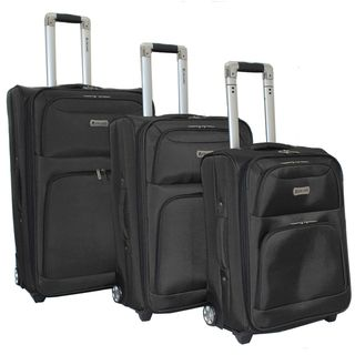 Dejuno Black Luxury 3 piece Expandable Upright Luggage Set