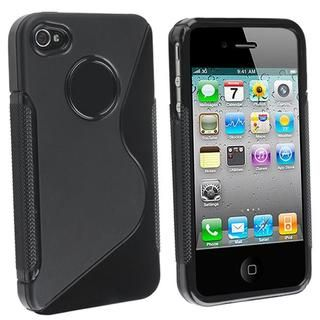 Black S Shaped TPU Rubber Case for Apple iPhone 4