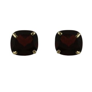 10k Yellow Gold Cushion cut Garnet Stud Earrings