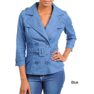 Stanzino Womens 3/4 Sleeve Denim Jacket with Belt