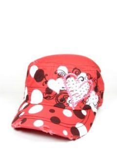 Ladies KB Ethos Red Poka Dots & Hearts Bling Hat Clothing
