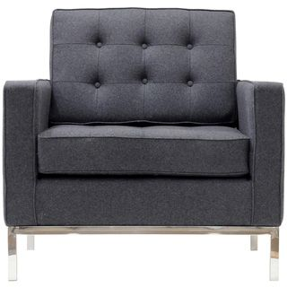 Florence Style Armchair in Light Gray Wool