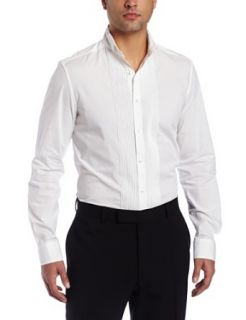 Kenneth Cole Mens Wingtip Tuxedo Shirt, White, Large