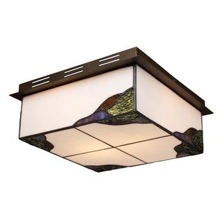 Landmark Lighting Blaksley Dark Wood 2 Light Flush