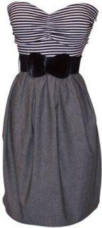 Black White Grey Belted Stripe Tube Dress Plus Size, 5X
