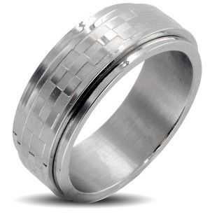 Stainless Steel Brushed and Polished Mens Checker Spinner Ring
