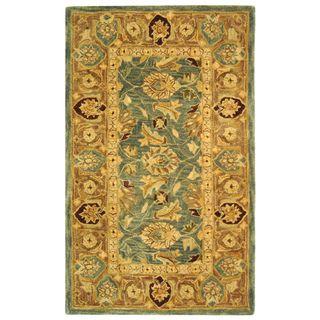 Handmade Legacy Blue/ Brown Wool Rug (3 x 5)