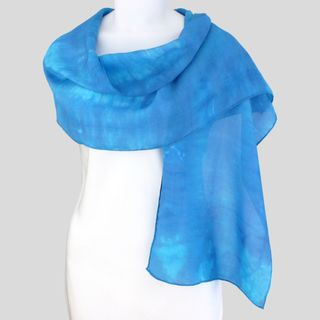 Gypsy River Riches Hand dyed Blue Lagoon Washable Silk Scarf