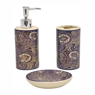 Paddock Shawl Brown 3 piece Bathroom Accessory Set