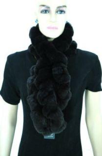 Rex Rabbit Fur Ruffled Knit Scarf   Brown Clothing
